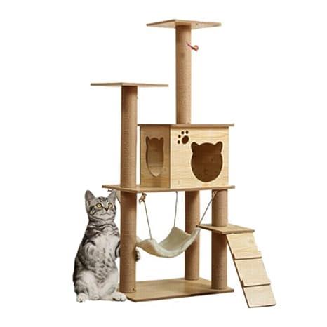 Gato que sube a la torre del condominio del árbol, muebles de madera 100% Hamaca ...