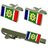 Johannesburg City South Africa Flag Cufflinks Tie Clip Box Gift Set