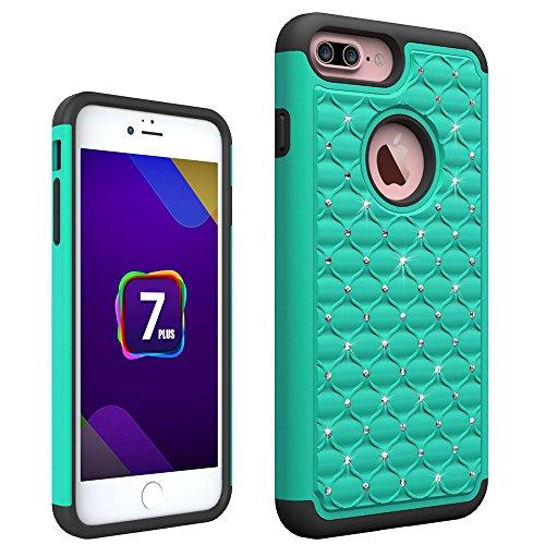 iPhone 7 plus Hülle, Valenth Diamond Hard Rückseite Hülle PC + Silikon Dual Layer Defender Case Schutzhülle für iPhone 7 Plus-Türkis / Schwarz