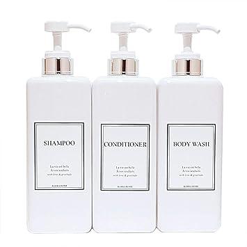 2f4b23477159 HARRA HOME Modern Gold Design Pump Bottle Set 27 oz Refillable Shampoo and  Conditioner Dispenser Empty Shower Plastic Bottles with Pump for Bathroom  ...