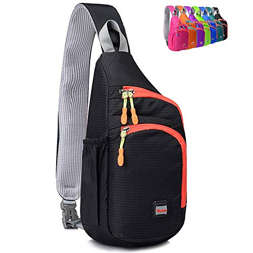 (Peicees Small Crossover Travel Sling Bags Girls Sling Backpack Chest Crossbody Bike Gym Daypack Waterproof Shoulder Bag with Water Bottle Holder&Strap Pocket for Teens Kids Men and Women(Black) )