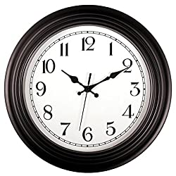 Tebery 14-Inch Large Wall Clock Silent Non-ticking Clock with Modern Design - Black