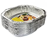 eHomeA2Z (20 Pack) Heavy Duty Oval Roaster Disposable Aluminum Foil Steam Table Pans for Cooking, Roasting, Broiling, Baking - 17.3''x12.7''x3.2'' (20, Oval Roaster)