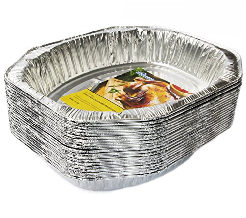 eHomeA2Z (20 Pack) Heavy Duty Oval Roaster Disposable Aluminum Foil Steam Table Pans for Cooking, Roasting, Broiling, Baking - 17.3