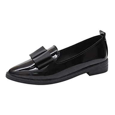 3556d251db08b Women British Style Slip On Loafers Bow Knot Pointed Toe Patent Leather  Dress Shoes by Lowprofile