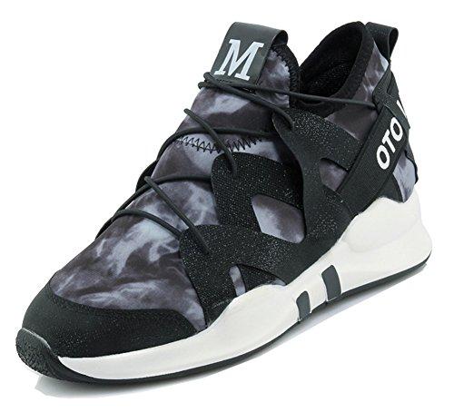 Aisun Femmes Mode Décontracté Bout Rond Lace Up Sportif Ascenseur Haut Haut Sneakers Chaussures De Course Noir