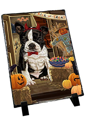 Doggie of the Day Enter at Own Risk Trick or Treat Halloween Boston Terrier Dog Photo Slate SLT53037