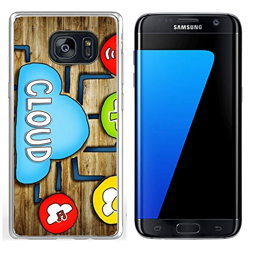 Luxlady Samsung Galaxy S7 Edge Clear case Soft TPU Rubber Silicone IMAGE ID: 34402076 Aerial View of People and Cloud Computing Concepts by Luxlady