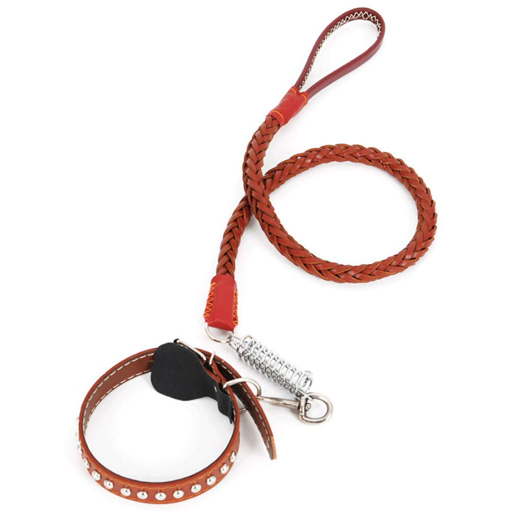 BROWN Dog Leash Leather Material Dog Chain Large Collar Explosion-Proof Punch Dog Rope Supplies (color   Brown)