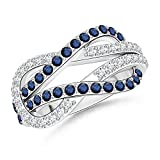 Encrusted Natural Blue Sapphire and Diamond Infinity Knot Ring in 14K White Gold (1.3mm Blue Sapphire)
