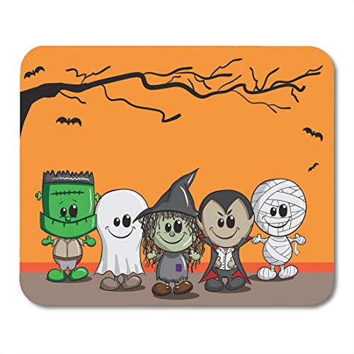 Emvency Mouse Pads Orange Cartoon Cute Halloween Frankenstein Ghost Witch Dracula Mummy Child Mousepad 9.5