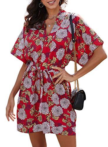 Elapsy Womens Ladies Summer Beach Sexy V Neck Floral Print Club Boho Mini Kimono Dress Red Small