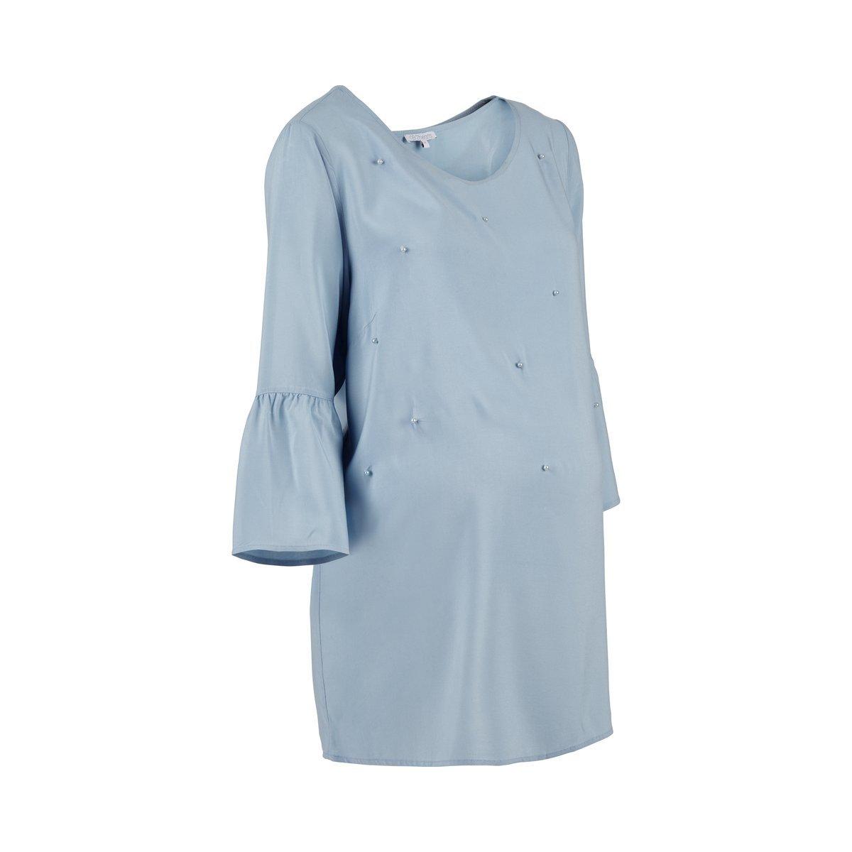 2HEARTS Mermaid in Love Umstands-Bluse blau Langarm mit Perlen//Damen Umstandsmode//Schwangerschaftsmode//Oberteil f/ür werdende Mamas