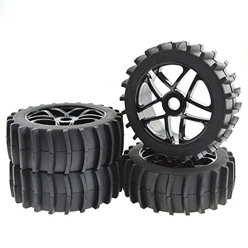 JIUWU 4pcs Beach Desert Snow Tires and Wheels Hex 17mm 1:8 RC Off Road Buggy Baja (Best Tires For Beach Driving)