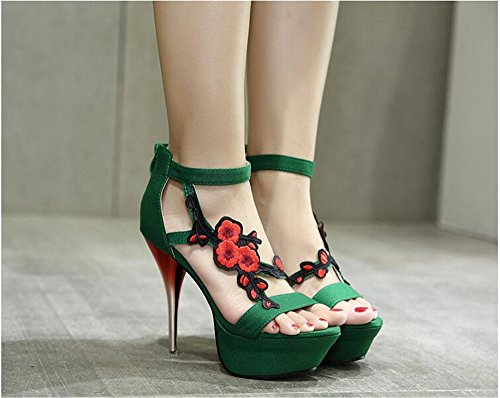 there ladies buckle sandals double heel strap party high size shoes barely Womens Green stiletto axXZZ