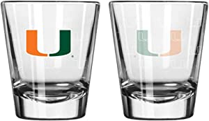 Boelter Brands NCAA Miami Hurricanes Shot GlassSatin Etch Style 2 Pack, Team Color, One Size