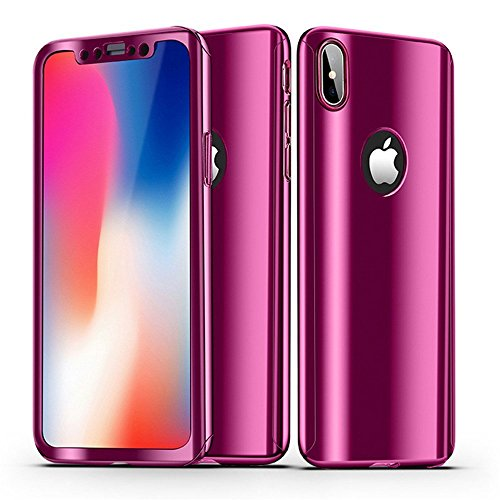 iPhone Xs Max Case + Screen Protector Alsoar iPhone Xs Max Cover 2 in 1 360 ° Full Body Protection PC case Ultra Thin Hard Plating Shockproof Non-Slip Protective Cover iPhone Xs Max (Rose red)