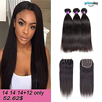 amazon indian straight hair 3 bundles with closure 8a unprocessed