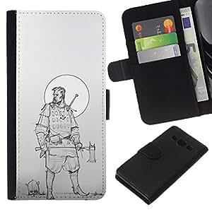 Stuss Case / Funda Carcasa PU de Cuero - Woodsman Guerrero Luna Sketch - Samsung Galaxy A3