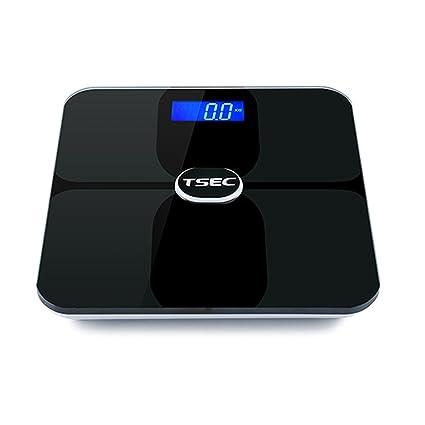 Naisidier Báscula Digital Bluetooth 180kg Baño Báscula Electrónica de Grasa Corporal LCD Aplicación IOS Android Negro