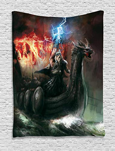 Ambesonne Dragon Tapestry, Imaginary Wrath of Vikings Royal Boat with Dragon Head Storm Rays, Wall Hanging for Bedroom Living Room Dorm, 60