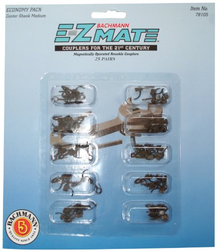 Bachmann Trains E-Z Mate Magnetic Knuckle Couplers - Economy Pack  - Center Shank - Medium (25 Coupler pairs per card) - HO Scale