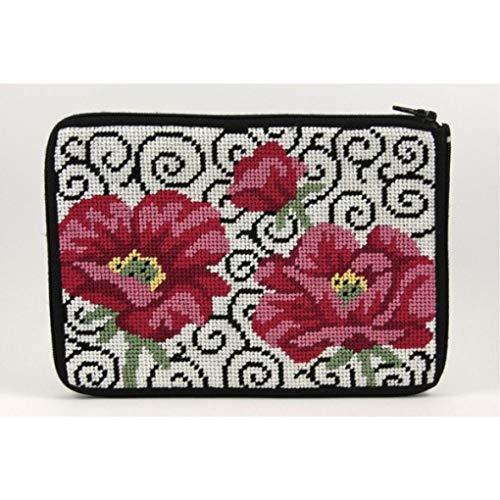 - Stitch & Zip Needlepoint Purse/Cosmetic Case Kit-SZ575 Poppies on Scroll