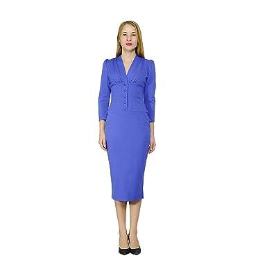 c280be2931c Marycrafts Women s Vintage 1940s Pencil Dress Work Office Cocktail 0 Blue