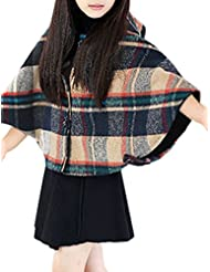 uxcell® Girls Plaids Button Placket Hooded Worsted Poncho