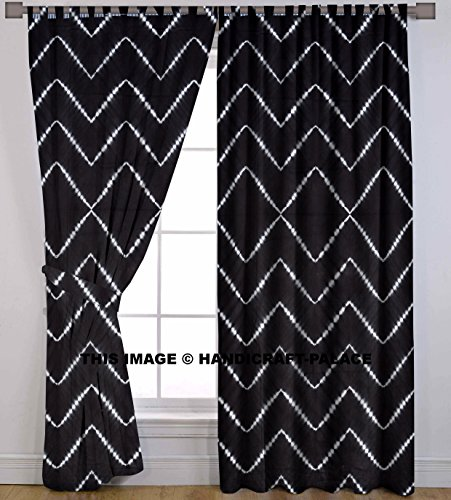 Indian Handmade Curtains Tie Dye Shibori 2 PC Waves Printed Curtain Set Valances Window Door Hanging By Handicraft-Palace