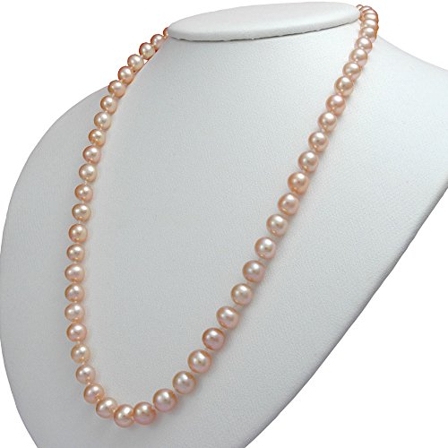 Aa+ Natural Pearl Necklace - Pink Freshwater Cultured Pearl Necklaces 8mm AA Cultured Pearl Pendant Necklace for Women