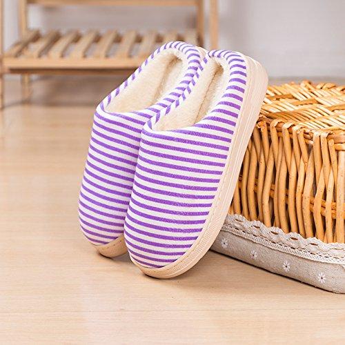 Y-Hui Winter Home la mitad de un paquete con dos rayas de algodón cálido invierno zapatillas de algodón,4243 Código (por 4142 pies),violeta