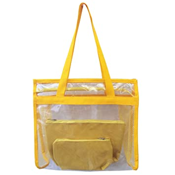 12c901d9d Bolsa feminina praia sacola transparente 2 necessaires brinde amarela