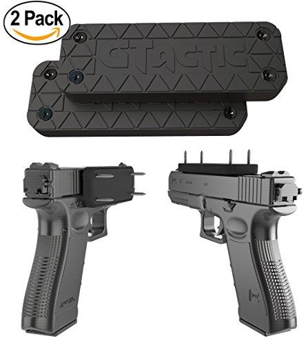 2 Pack Magnetic Gun Mount w/ Adhesive | Rubber Coated 43 Lbs Rated Gun Magnet Mount & Holster | Concealed Holder for Handgun, Rifle, Shotgun, Pistol, Revolver, Vehicle, Wall, Vault, Desk, Bedside