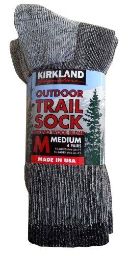 Kirkland Signature Outdoor Trail Sock Merino Wool Blend Medium, 4 Pairs.Grey