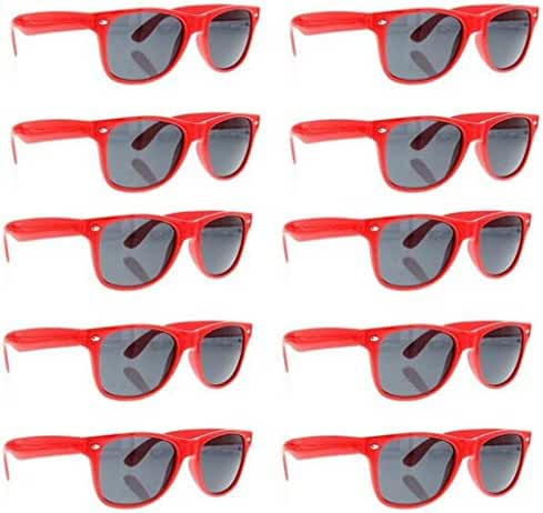 SCLM Wayfarer 80's Style Sunglasses 10 Bulk Pack Lot Neon Color Party Glasses