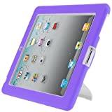 i-Blason ArmorBox Stand Series 2 Layer Convertible Hybrid Protection Kick Stand Case for iPad 4 iPad 4th Generation iPad with Retina Display The New iPad 3 3rd Generation & iPad 2 Kids Friendly (Multi Color) (Purple/White)