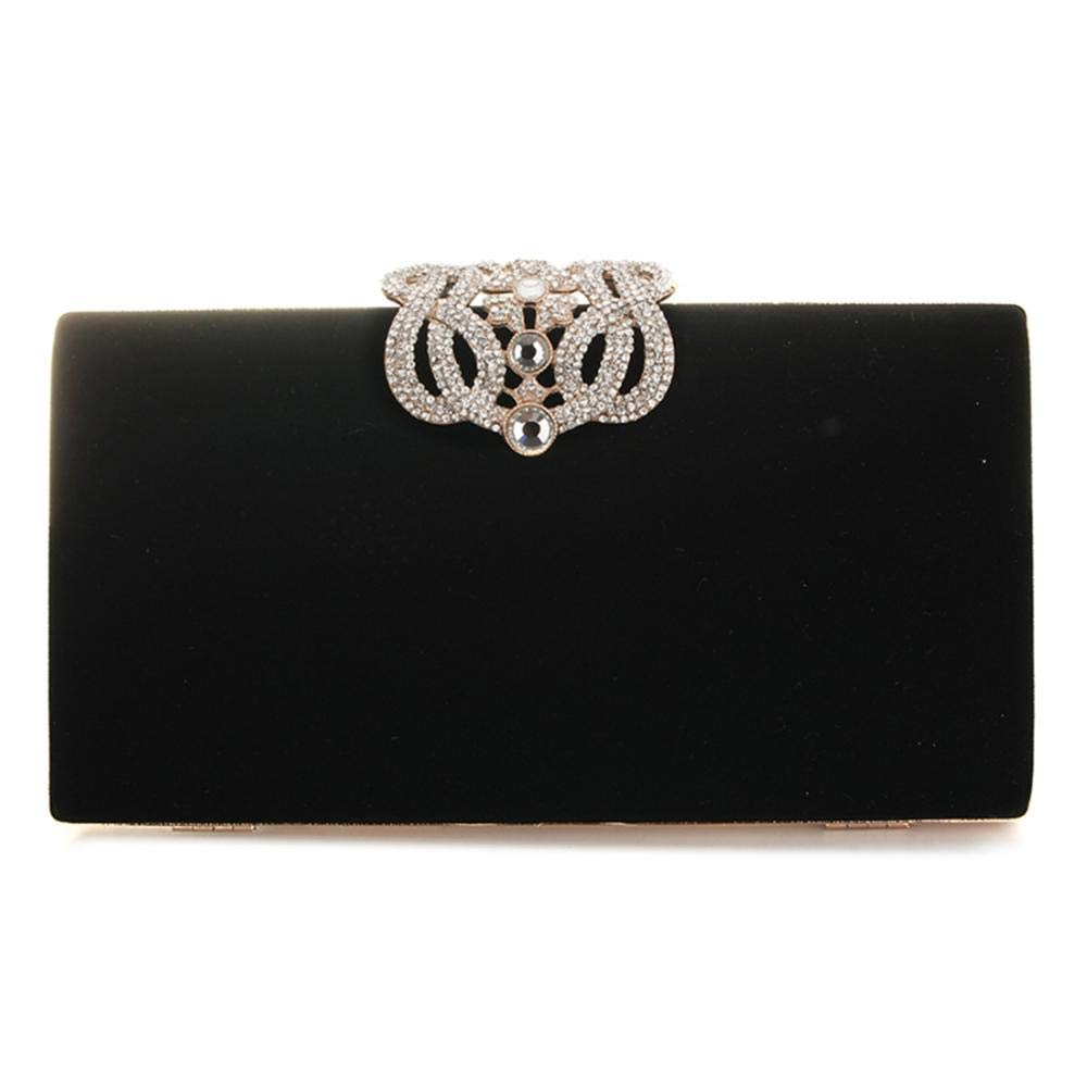 Velour Beads Box Evening Clutch Handbag, Soft Surface Hard Case Acrylic Clutch Purse Bag, Fashion Clutch Evening Bag for Prom Ball Shopping Formal Party Club (Black) by SIMANLI (Image #4)