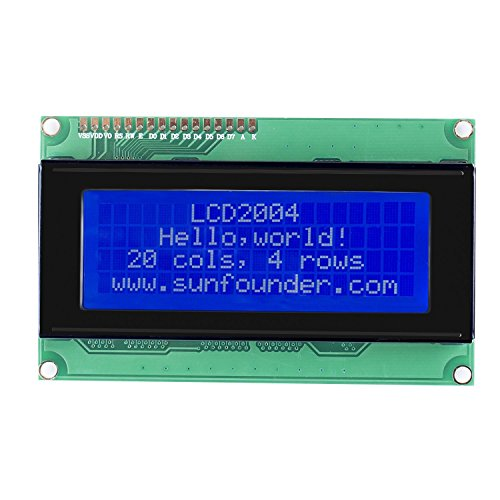 SunFounder LCD2004 Module with 3.3V Backlight for Arduino Uno R3 Mega2560 Raspberry Pi Display of 20x4 White Characters on Blue Background (4 Line Display)