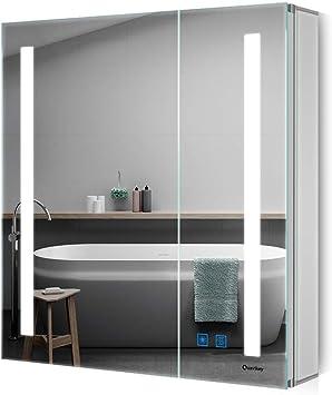 Quavikey LED Spiegelschrank 63x65cm(B*H) Badezimmer Spiegelschrank  Aluminium mit LED Beleuchtung Lichtspiegelschrank Antibeschlag  Touchschalter ...