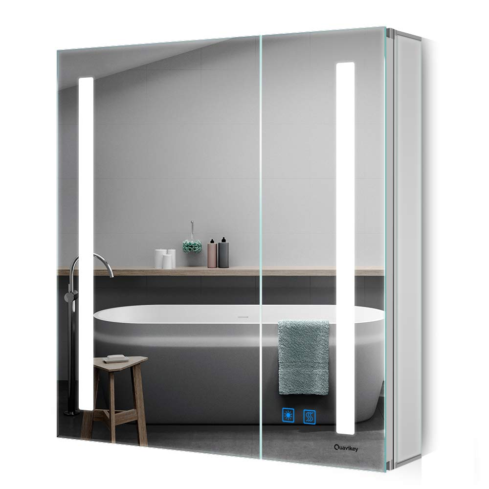 Quavikey Led Illuminated Bathroom Mirror Cabinet 2 Door Large Mirrored Cabinet Wall Mounted With Full Demister Pad Adjustable Lights 630 X 650mm Buy Online In Guyana At Guyana Desertcart Com Productid 100988810
