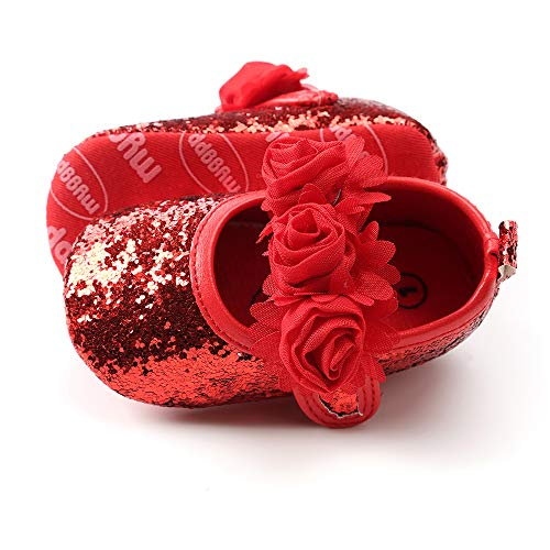 - Tutoo Baby Girls' Party Shoes Newborn Soft Sole Walkers Shoes Infant Crib Shoes (5.1 (12-18 Months), G-Sequins red)