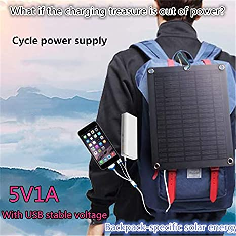 Leoie Portable Mobile Power Solar Charger 5V Outdoor Emergency Backpack Solar Charging Plate