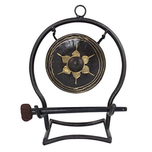 - NOVICA Iron and Brass Tabletop Gong with Flower Design, Thai Harmony'