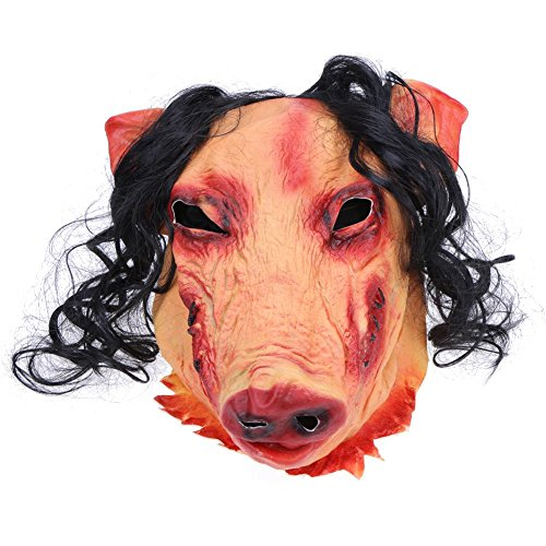Whitelotous Latex Saw Pig Head with Black Hair Scary Mask Cosplay Halloween Party Mask (Halloween Costumes Saw Pig)