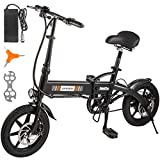 Mophorn 36V Electric Bike 250W Ebike Bicycle Folding 6.6Ah Foldable E-Bike 14 Inch with Lithium Battery Powered 15.5 Mile Range