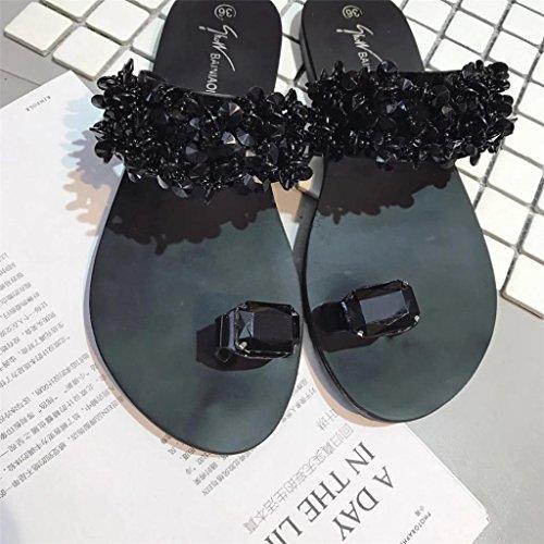 Rhinestone Sandals Wedges Summer Flops Flat Ring Shoes Womens Fheaven Black Beach Flips Toe Sandals CqxU0HwZf