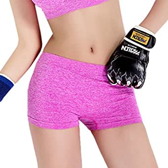 Sharlir Women's Moisture-wicking Workkout Active Running Yoga Shorts (Onesize, Pink)