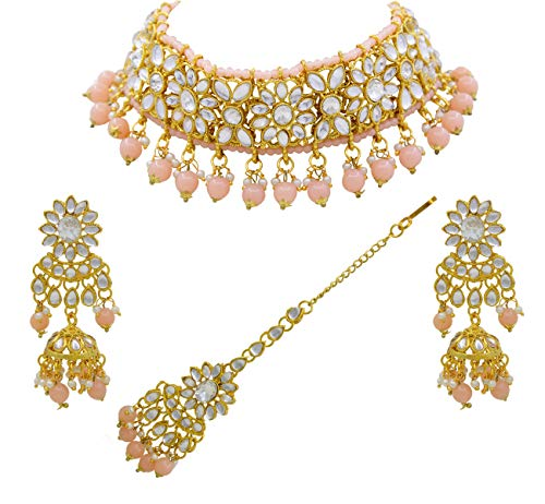 Saiyoni Traditional Indian Bridal Peach Kundan Choker Gold Plated Necklace Set for Women