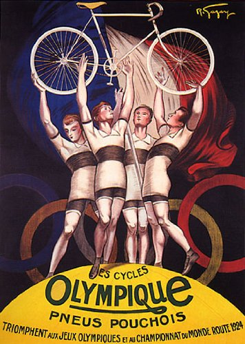 CYCLES OLYMPIQUE PNEUS POUCHOIS 1924 OLYMPIC GAMES CYCLISM BICYCLE ATHLETE SMALL VINTAGE POSTER CANVAS REPRO - 1924 Olympic Games